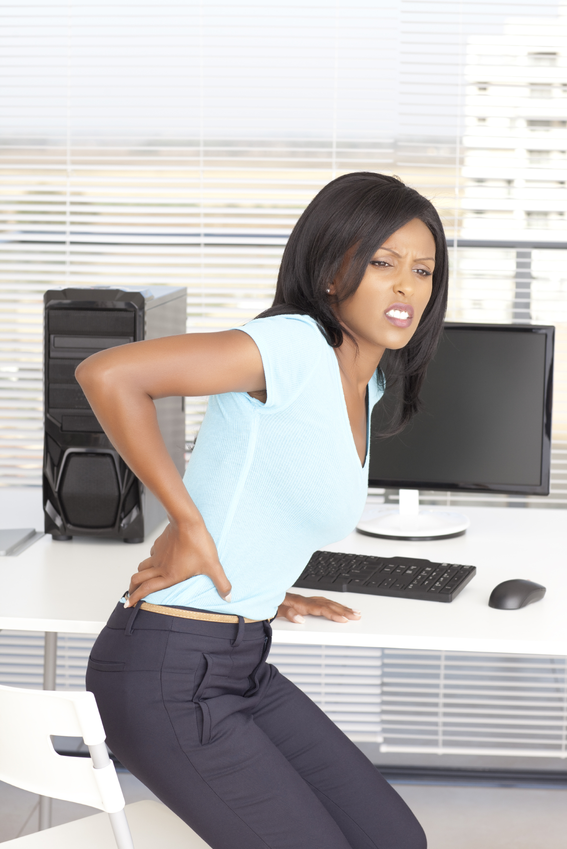 Women experiencing lower back pain